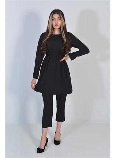Zeren Kadın Siyah Belden Sıkma Tunik Takım Siyah